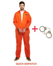 MENS PRISONER OVERALL ORANGE JUMPSUIT CONVICT HALLOWEEN FANCY DRESS COSTUME XMAS