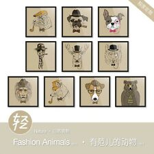 Light Art Fashion Animals 1 Vintage Retro Brown Pop Posters Wall Canvas Painting