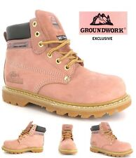 NEW PINK WOMANS SAFETY BOOTS STEEL TOE CAP GROUNDWORK LADIES HIKING BOOT UK 3-8
