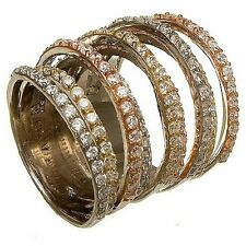 NEW 14K TRI-COLOR GOLD VERMEIL Pave 9 Row CZ Knuckle Ring-Bridal-Band-925