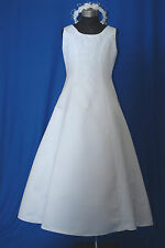 Diana White1st Holy Communion Flowergirl Flower Girl Bridesmaid Big Dress 7-8 Yr