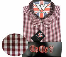 Warrior OiOi7 Short Sleeve Button Down Shirt LAZENBY Mod Skinhead Red White