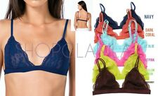 Lace Triangle Bralette Double Adjusted Hook Lined Sheer Bustier Bra Top A11
