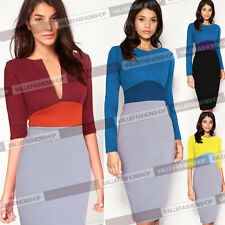 Womens Colorblock Zip Tunic Business Work Party Cocktail Pencil Sheath Dress 853
