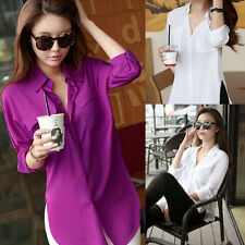 Womens Ladies Solid Chiffon Button Down Shirt Turn-down Collar Loose Blouse Tops