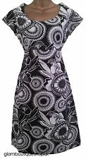 BN LADIES WHITE STUFF SUMMER FLORAL LINEN BLACK GREY IVORY TUNIC TEA DRESS 8 18