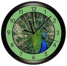 PEACOCK WALL CLOCK PERSONALIZED GIFT DECOR BLUE GREEN DECORATIVE BIRD ZOO EXOTIC