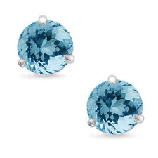 Martini Round Cut Aquamarine 14k White Gold Sterling Silver Stud Earrings New