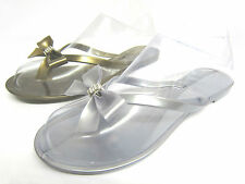 Ladies Slip On Jelly Toe Post Flip Flops with Bow & Diamante Trim  Style:F0581