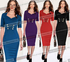 Womens Pinup Stretch Tunic Business Casual Work Party Sheath Pencil Dress 810