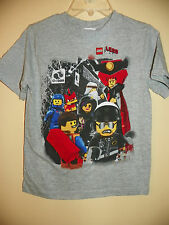THE LEGO MOVIE/7 CHARACTERS-BOYS SIZE 4 & 5/6-LICENSED SHORT SLEEVE-NWOT-GRAY