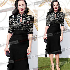 Women Celebrity Vintage Tunic Prom Cocktail Party Evening Mermaid Midi Dress 858