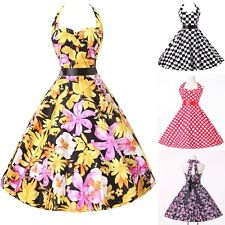 US NEWEST CHEAP Vintage 50s FLORAL Halter Rockabilly Swing Evening Prom Dresses