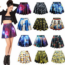 Women High Waist Pleated Printed Mini BALL Short Swing Skirt Skater Flared Dress