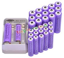 16x AA 3000mAh +16x AAA 1800mAh 1.2V Ni-MH Purple Rechargeable Battery +Charger