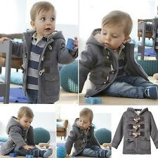 Winter Warm Boys Baby Outerwear Jacket Fleece Horn Button Hoodies Coat For 6M-3T