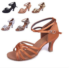 Women Fashion Ballroom Latin Tango Dance Shoes Soft Sole Heeled Salsa 5 Colors