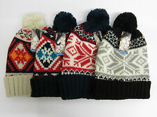 Mens Soul Star Knitted Fairisle Bobble Hat with Pom Pom One Size Style MH POM 1