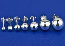 Real.925 sterling silver Plain Polish Paris ball Ear stud earring 3-10mm Jewelry