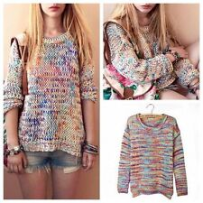 New Rainbow Womens Round Neck Long Sleeve Pullover Jumper Sweater Knitwear Tops