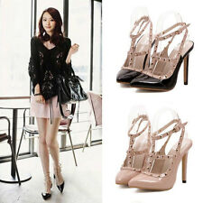 Womens Sexy High Heels Evening Strappy Patent Leather Low Platform Rivet Shoes