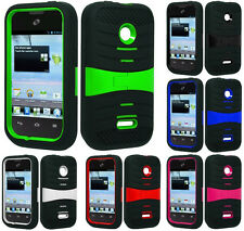 HEAVY DUTY RUBBER SKIN + HARD KICKSTAND CASE for HUAWEI model cell phones