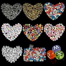 4*7mm Mixed Alphabet Letter Coin Round Flat Spacer Acrylic Beads DIY Pick 100pcs
