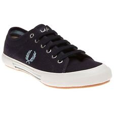 New Mens Fred Perry Blue Vintage Tennis Canvas Trainers Lace Up