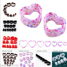 2x Acrylic Hollow Heart Flared Flesh Ear Tunnels Plugs Expander Stretcher Gauge
