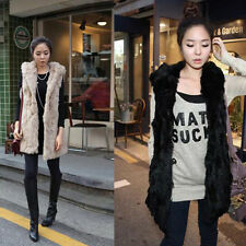 ZWB Womens Fashion Casual Faux Rabbit Fur Hooded thickened long Vest Jacket