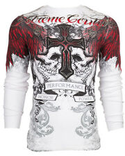 Xtreme Couture AFFLICTION Men THERMAL T-Shirt CARNIVORE Skulls Biker MMA UFC $58