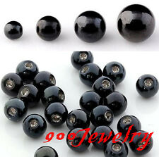 100x Black Steel Labret Navel Earring Nose Tongue Eyebrow Ring Finding Accessory