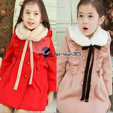 Autumn Winter Wrist Bow Knot Kids Child Girls Baby Wool Party Coat Jackets 3-7Y