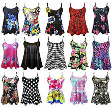 New Womens Ladies Printed Cami Vest Sleeveless Swing Camisole Top Plus Size 8-24