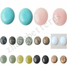 Natural 3x4cm Rose Quartz Agate Opal Mixed Oval Stone Flat Cabochon Bead Jewelry