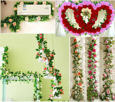 Christmas Artificial Rose Garland Silk Flower Vine Ivy Home Wedding Garden Decor