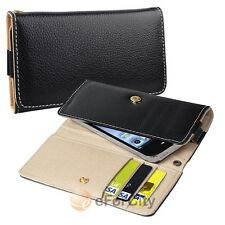 Black Luxury Flip Wallet Leather Design Case Cover Pouch Holder for Cell Phone
