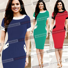 Womens Vintage Rockabilly Cotton Work Party Cocktail Bodycon Pencil Dress 954