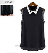Women Summer Loose Casual Chiffon Sleeveless Vest Shirt Tops Blouse White Black