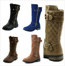 New Girl's Dress up Fashion Flat Heel Knee High Riding Boots Faux Leather Shoes