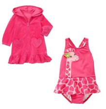Gymboree Loveable Giraffe pink swimsuit & cover up set NWT