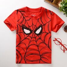 Summer Cool Spider-man Print Kids Boys Short Slevee T-Shirt Cotton Top For 2-7Y