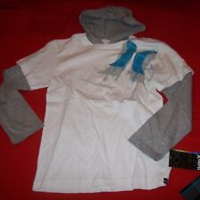 HURLEY long sleeve hoodie shirt boys youth S 7 8  L 14 16  XL18 20 gray white