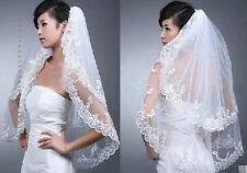 New 2T White/ Ivory Applique wedding Bridal Bride Veil +comb