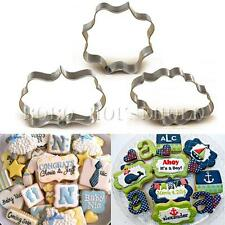 Plaque Cutter Cookie Frame Cake Oval Square Rectangle Fancy Stainless Steel Mold