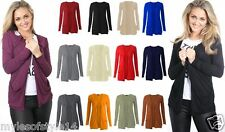 Womens Slouch Drop Pocket Long Sleeves Open Casual Top Boyfriend Cardigan 8-14