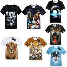 Tide Men's Cotton Round Neck Animal Head 3D T-dimensiona Short T-shirt BDRG