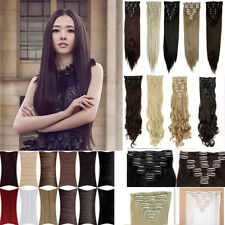 high quality full head 8pcs clip in hair extensions straight/curly beauty 20+ wm