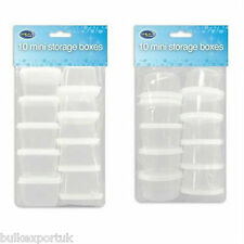 10 SMALL MINI PLASTIC STORAGE BOXES BABY FOOD HERBS CONTAINERS TRAVEL POTS