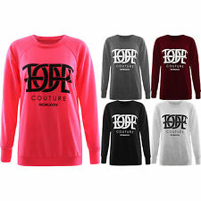 Womens Dope Couture Print Sweatshirt Casual Diamond Pullover Jumper Tops SM M ML